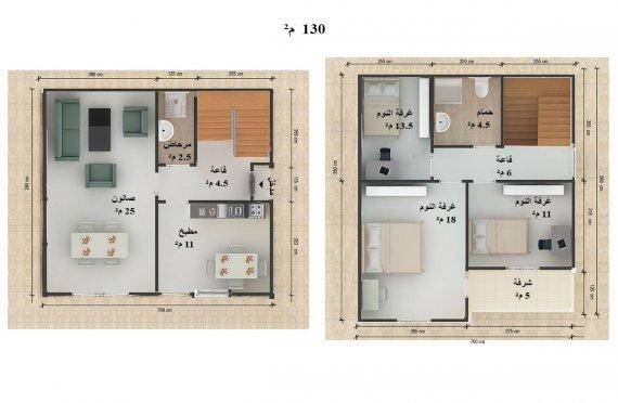 تصاميم المنازل من طابقين