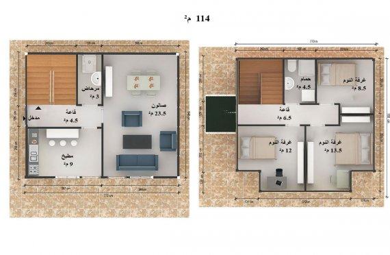 مخطط بيوت طابقين