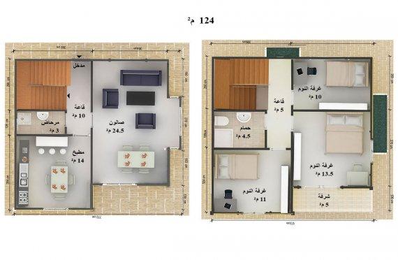 مخطط منازل طابقين